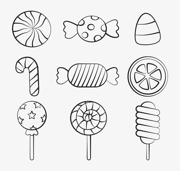Kawaii carino set di dolci caramelle dessert con diversi tipi isolati su sfondo bianco per bar o ristorante.