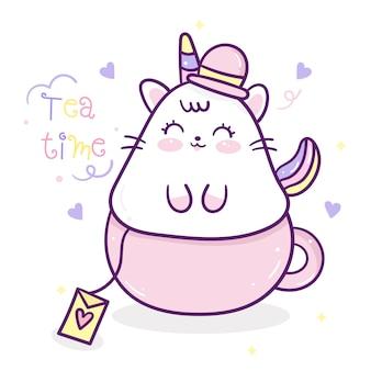 Kawaii simpatico cartone animato gatto unicorno