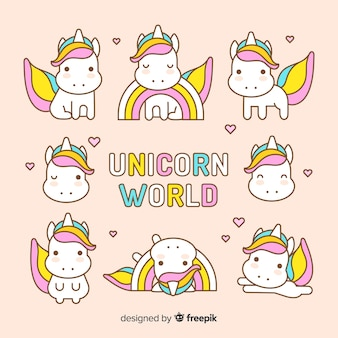 Collezione di simpatici personaggi unicorno kawaii