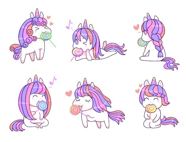 Amici di unicorno carino kawaii con lecca-lecca dolce colore pastello, stile fumetto set vettoriale
