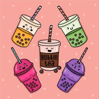 Collezione di tè con bolle di design kawaii