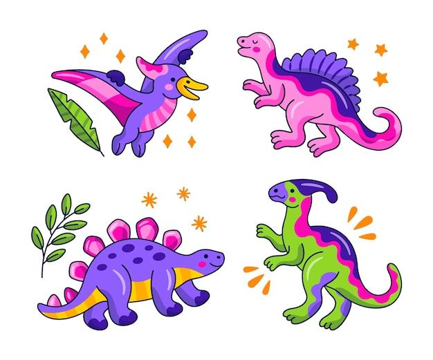 Collezione di adesivi di dinosauri kawaii