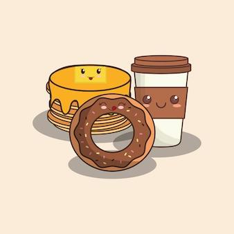 Ciambella kawaii e frittelle con tazza di caffè