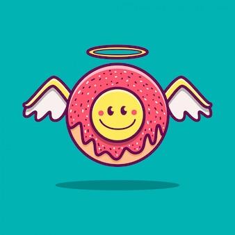 Kawaii doodle cartoon angel donut illustrazione