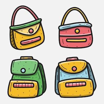 Illustrazione di progettazione della borsa del fumetto di scarabocchio di kawaii