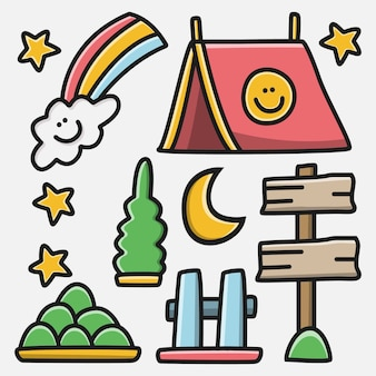 Kawaii doodle cartoon camper design illustrazione