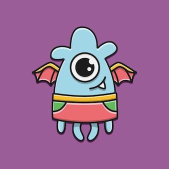 Illustrazione di progettazione del mostro del personaggio dei cartoni animati di scarabocchio di kawaii