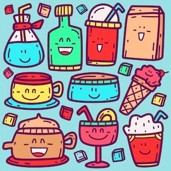 Modello di bevanda del fumetto di doodle kawaii