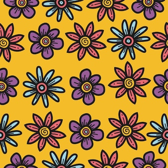 Modello di modello di fiore del fumetto di doodle kawaii Vettore Premium