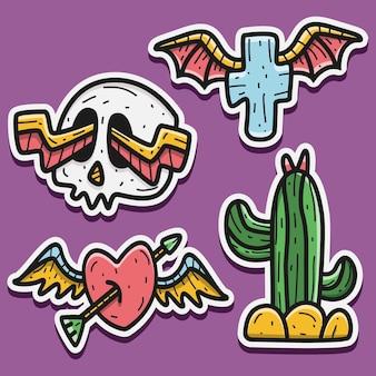 Illustrazione di progettazione dell'autoadesivo di halloween del fumetto di scarabocchio di kawaii