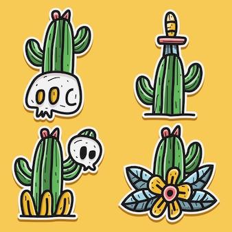 Kawaii doodle cartoon cranio e cactus sticker design illustrazione