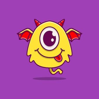 Kawaii doodle mostro personaggio dei cartoni animati
