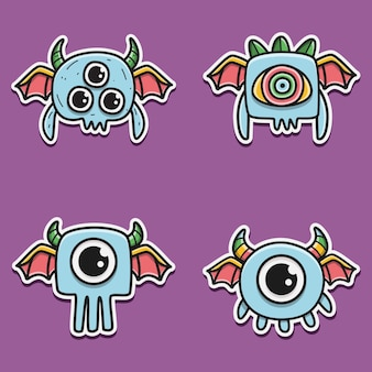 Kawaii doodle monster cartoon illustrazione