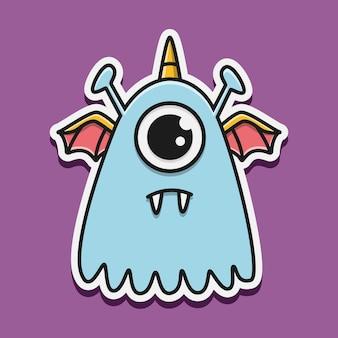 Kawaii doodle mostro illustrazione di carattere