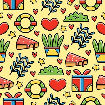 Kawaii doodle seamless pattern design