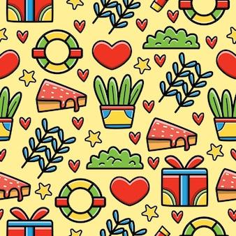 Kawaii doodle seamless pattern design Vettore Premium