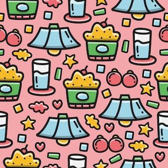 Kawaii doodle seamless pattern