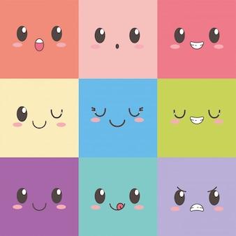 Insieme di colore del quadrato dell'emoticon del fumetto di espressione dei fronti di kawaii