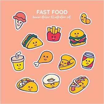Insieme dell'illustrazione degli alimenti a rapida preparazione di kawaii