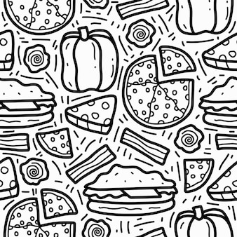 Kawaii cibo cartoon doodle pattern design