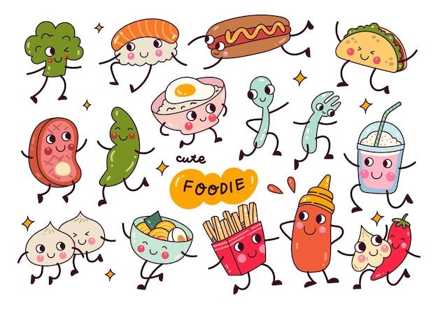 Kawaii cibo doodle raccolta isolato su sfondo bianco