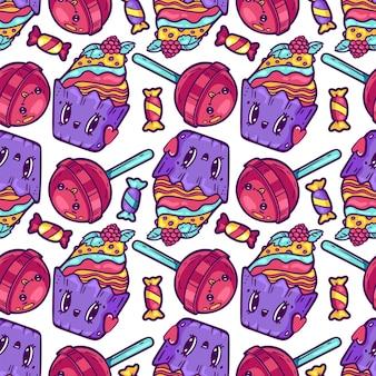 Reticolo senza giunte del cibo kawaii cartoni animati doodle personaggi di dolcezza facce emotive icona negozio di caramelle