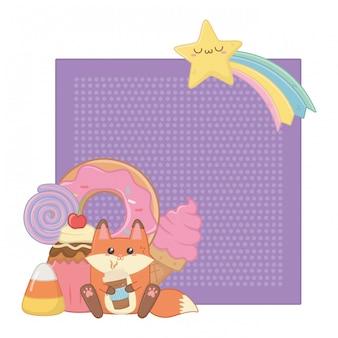 Kawaii di volpe cartoon e dessert