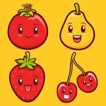 Raccolta di illustrazioni di personaggi di frutta kawaii