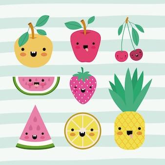 Raccolta di frutti kawaii