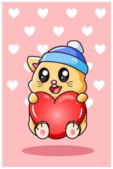 Kawaii e gatto divertente con amore nell'illustrazione del fumetto di giorno di san valentino