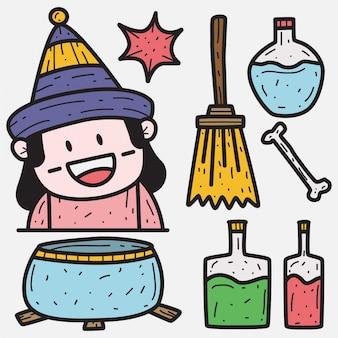 Kawaii halloween cartoon doodle illustrazione
