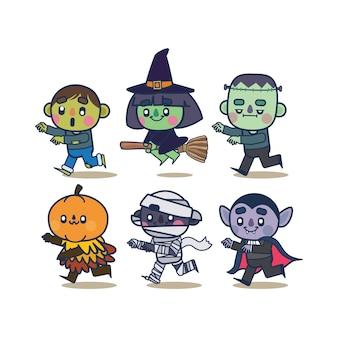 Collezione di personaggi di halloween kawaii