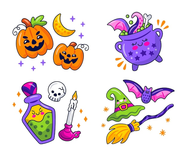 Collezione di adesivi di halloween kawaii