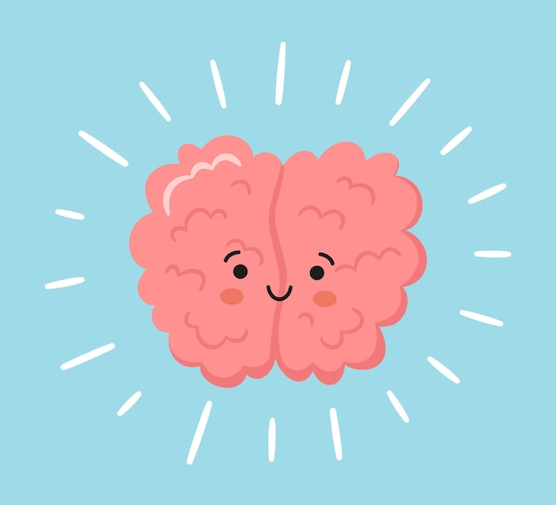 Kawaii felice personaggio del cervello umano. simbolo disegnato a mano di una mente sana. illustrazione di cartone animato vettoriale isolato su sfondo blu con raggi