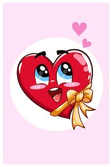 Cuore di kawaii con l'illustrazione di giorno di san valentino del fumetto di kawaii del nastro
