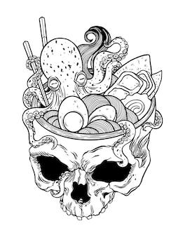 Kawaii anime giapponese scheletro ramen halloween