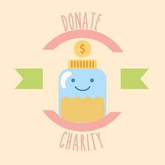 Kawaii, vaso, vetro, monete, soldi, donare, carità, etichetta