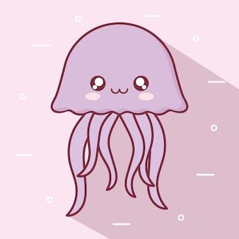 Disegno del fumetto animale meduse kawaii, espressione simpatico personaggio divertente e tema emoticon