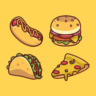 Set di adesivi del fumetto di cibo spazzatura kawaii. illustrazioni divertenti della raccolta di emoji