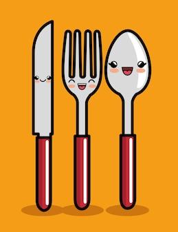 Disegno dell'icona di cucchiaio e forchetta coltello kawaii