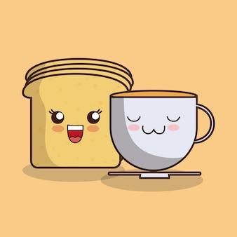 Fetta di pane kawaii e tazza da caffè