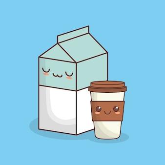 Scatola del latte kawaii e tazza di caffè