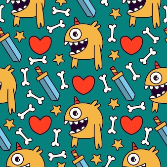 Kawaii mostro cartoon doodle seamless pattern design
