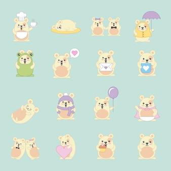 Kawaii mouses molte attività animali cartoon