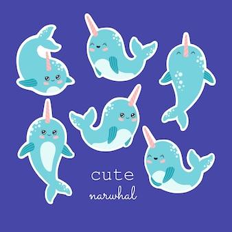 Collezione di adesivi narvalo kawaii, simpatico set di balene. animali oceanici disegnati a mano con fascio di corno rosa, colore pastello, illustrazione vettoriale alla moda moderna, stile cartone animato piatto, isolato su sfondo blu