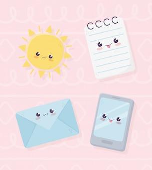 Kawaii notepad smartphone busta e sole personaggio dei cartoni animati