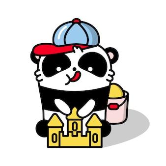 Panda kawaii sull'illustrazione della spiaggia