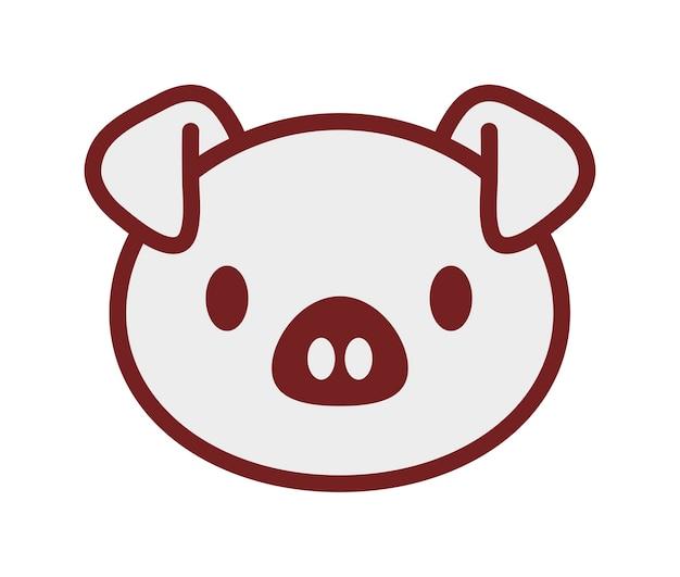 Icona di maiale kawaii su sfondo bianco