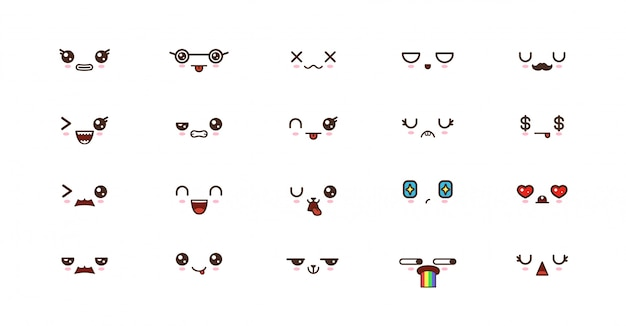 Emoticon di sorriso kawaii. emoji giapponese