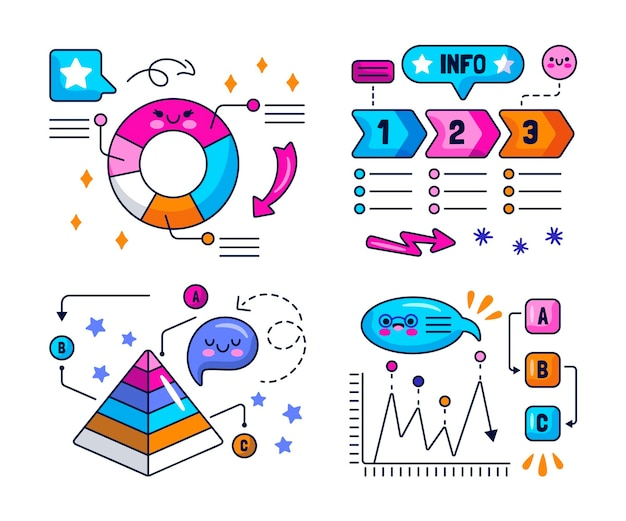 Fumetti kawaii, frecce e adesivi con elementi infografici